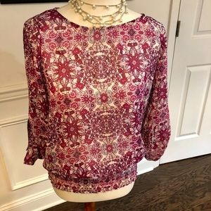 Fever Floral Purple Scrunched Blouse Size Small